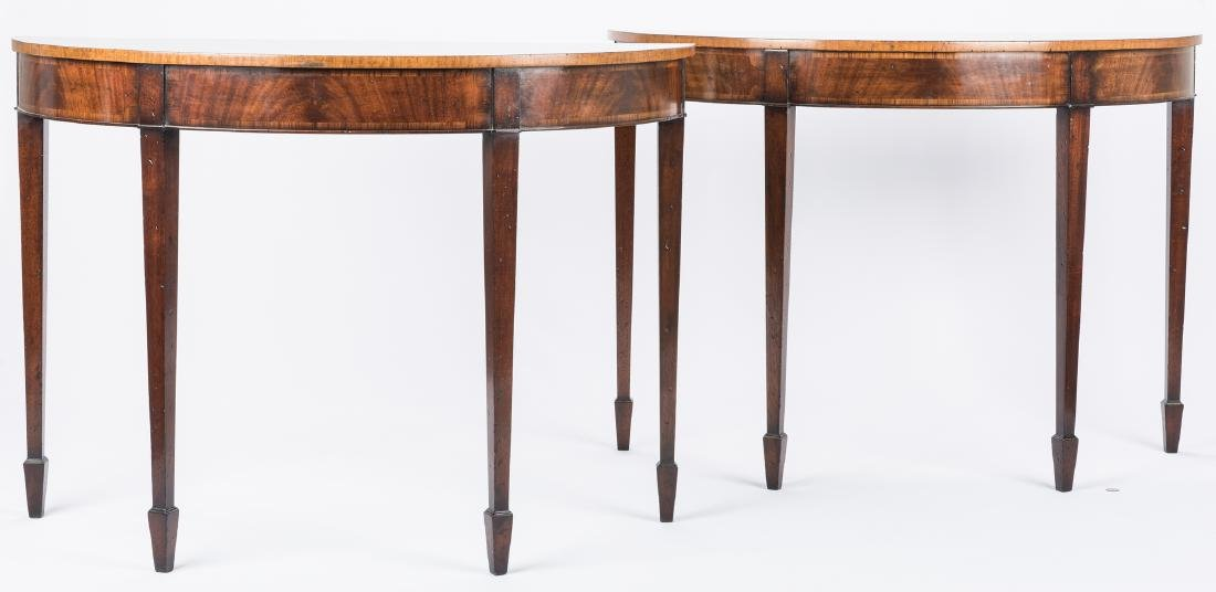 Pair of Georgian style Demilune Tables - 15