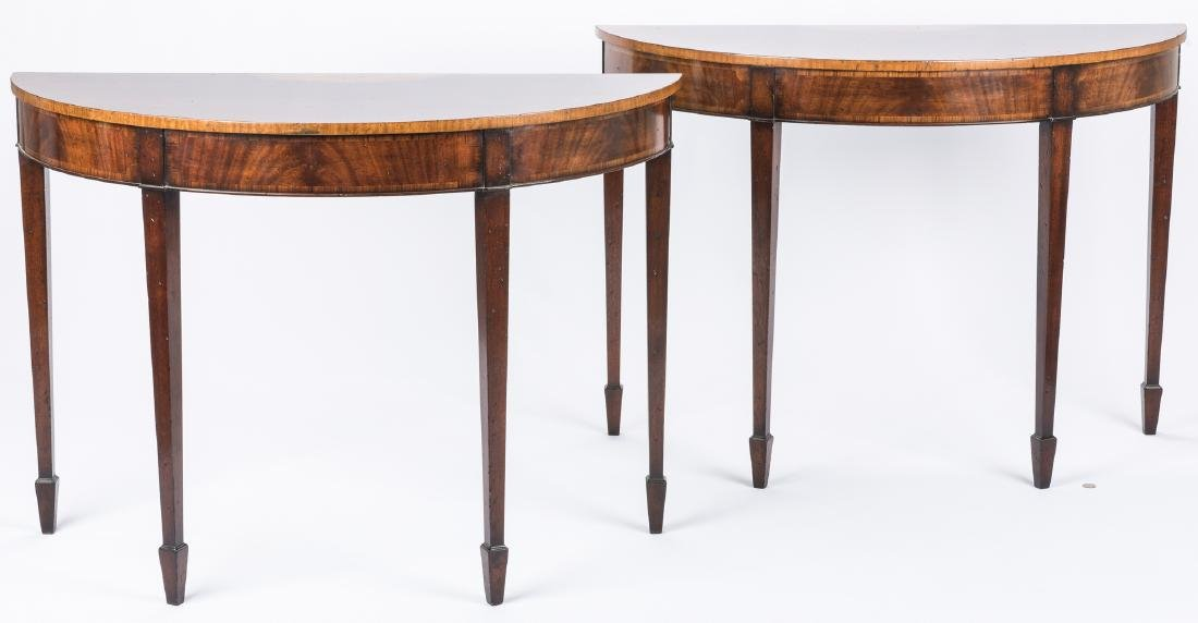 Pair of Georgian style Demilune Tables - 16