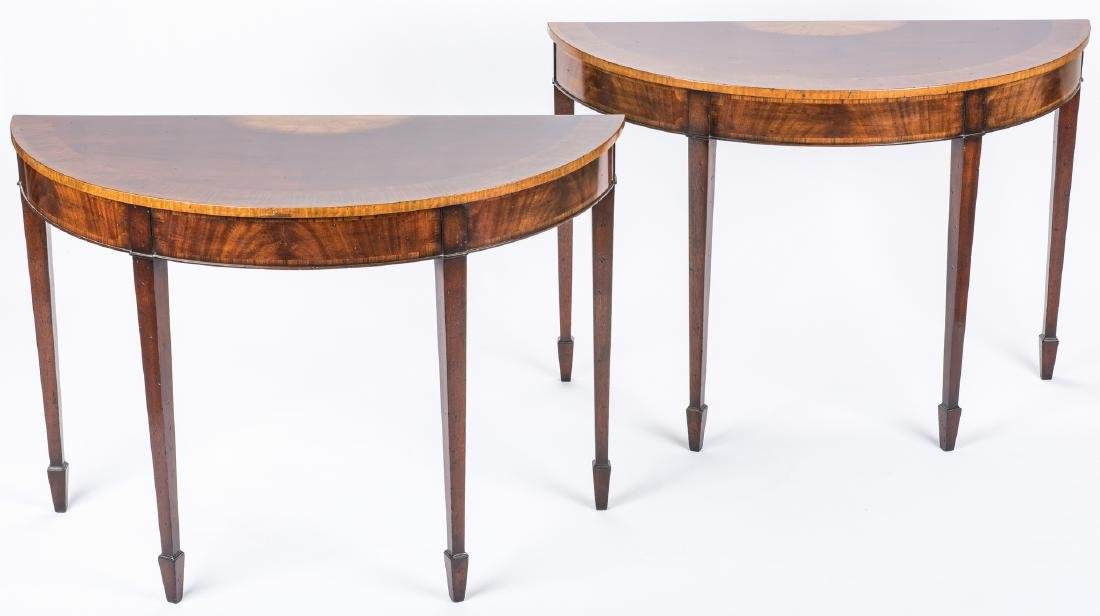 Pair of Georgian style Demilune Tables