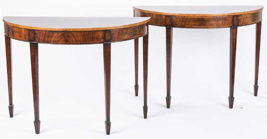 Pair of Georgian style Demilune Tables - 2