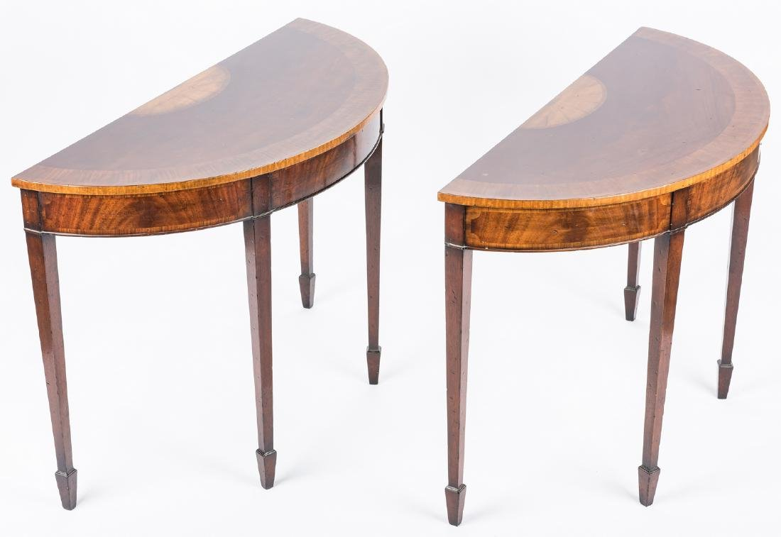 Pair of Georgian style Demilune Tables - 3