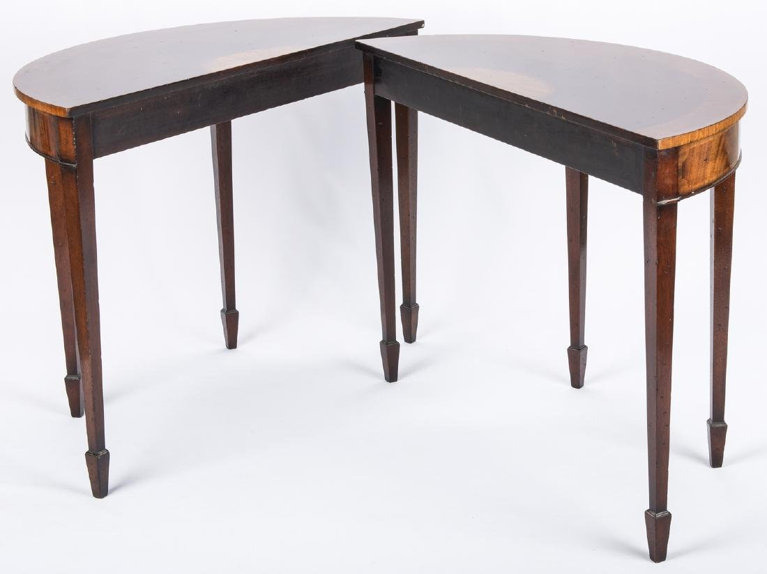 Pair of Georgian style Demilune Tables - 5