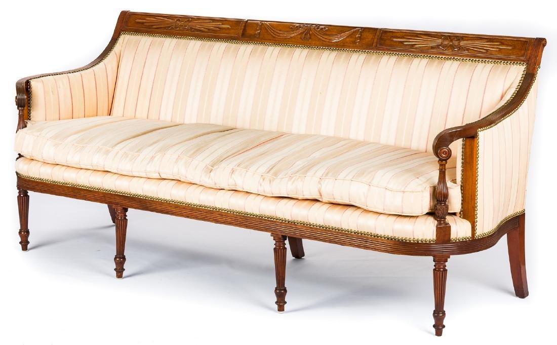 American Federal Carved Mahogany Square-Back Sofa