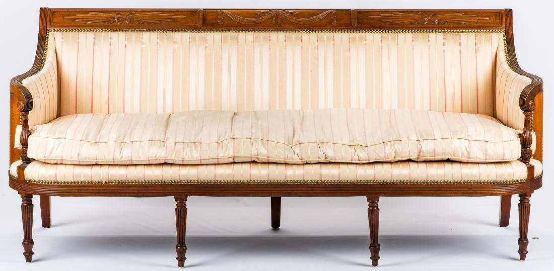 American Federal Carved Mahogany Square-Back Sofa - 2