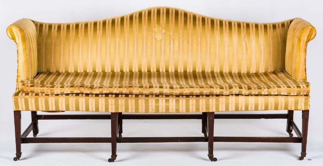 Federal Inlaid Camel Back Sofa