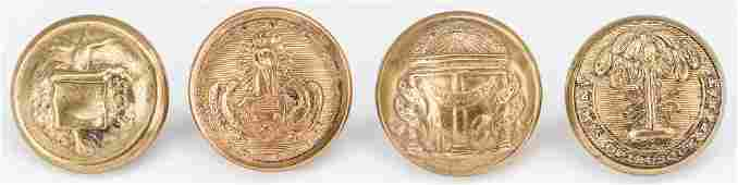 4 Confederate Brass Buttons inc Arkansas