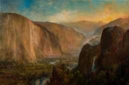 Lucien Powell O/C, Western Waterfall Landscape 19th c.