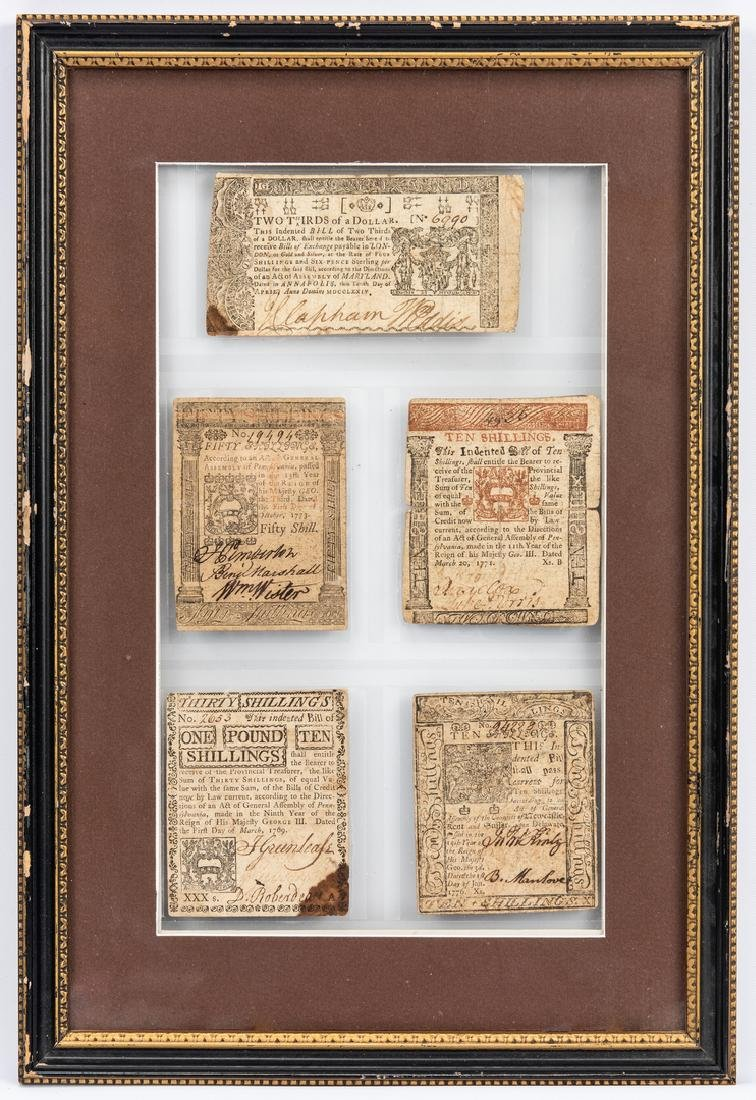 5 Pcs. Framed  Colonial Currency