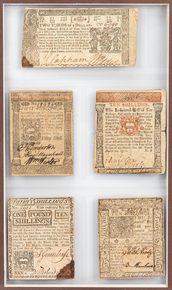 5 Pcs. Framed  Colonial Currency - 2