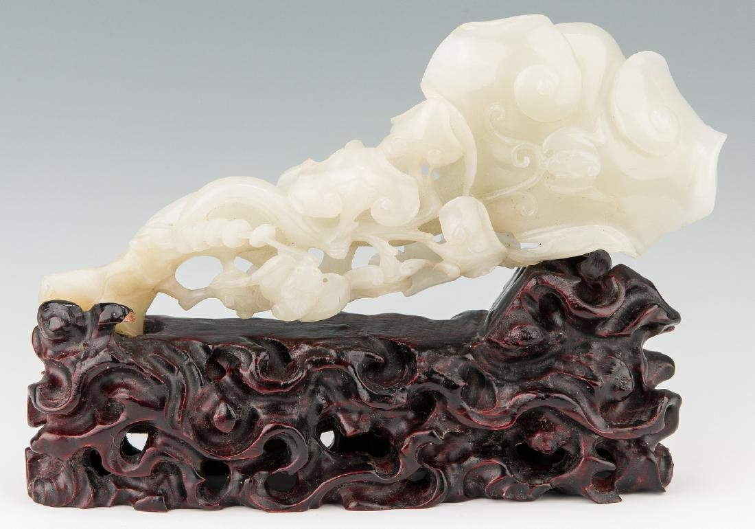 Chinese Late White Jade Sculpture w/ Stand