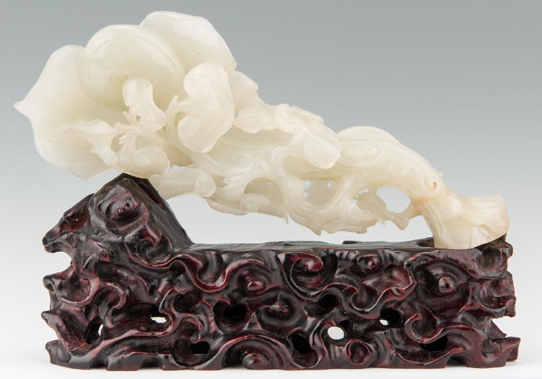 Chinese White Jade Sculpture w/ Stand - 2