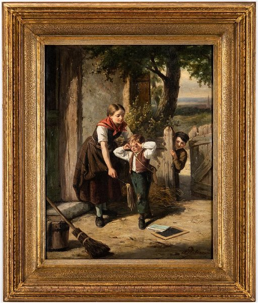 19th c  Genre Painting by Jan Walraven