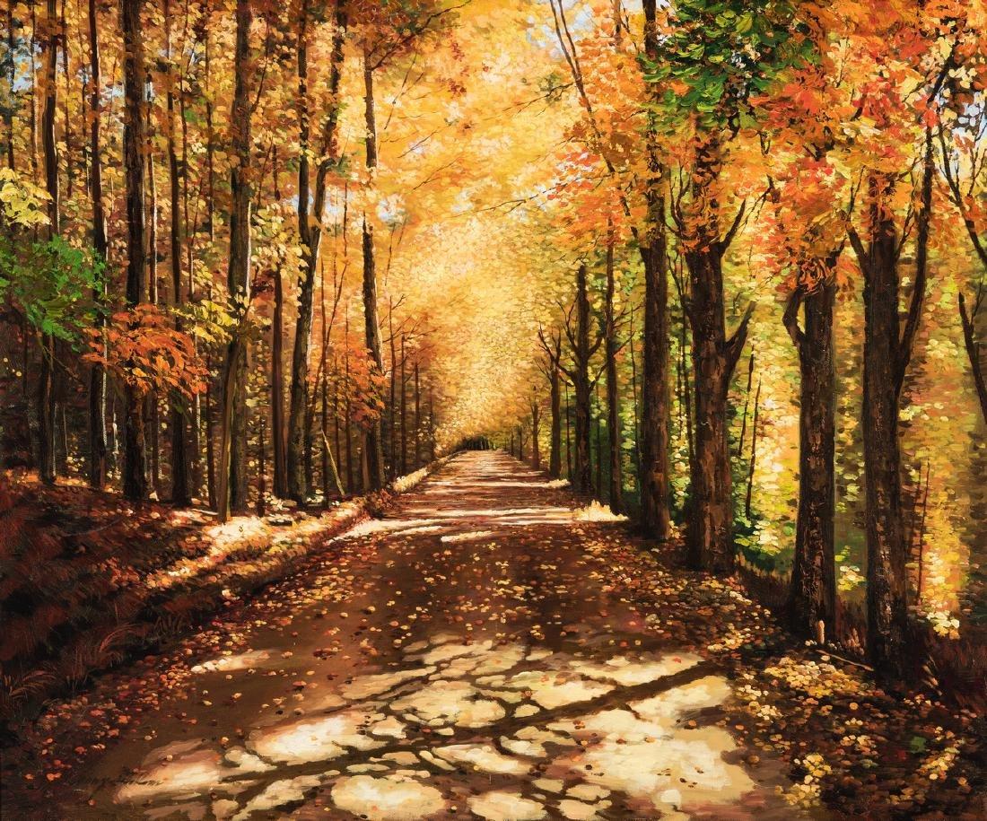 American School Fall Landscape, Signed
