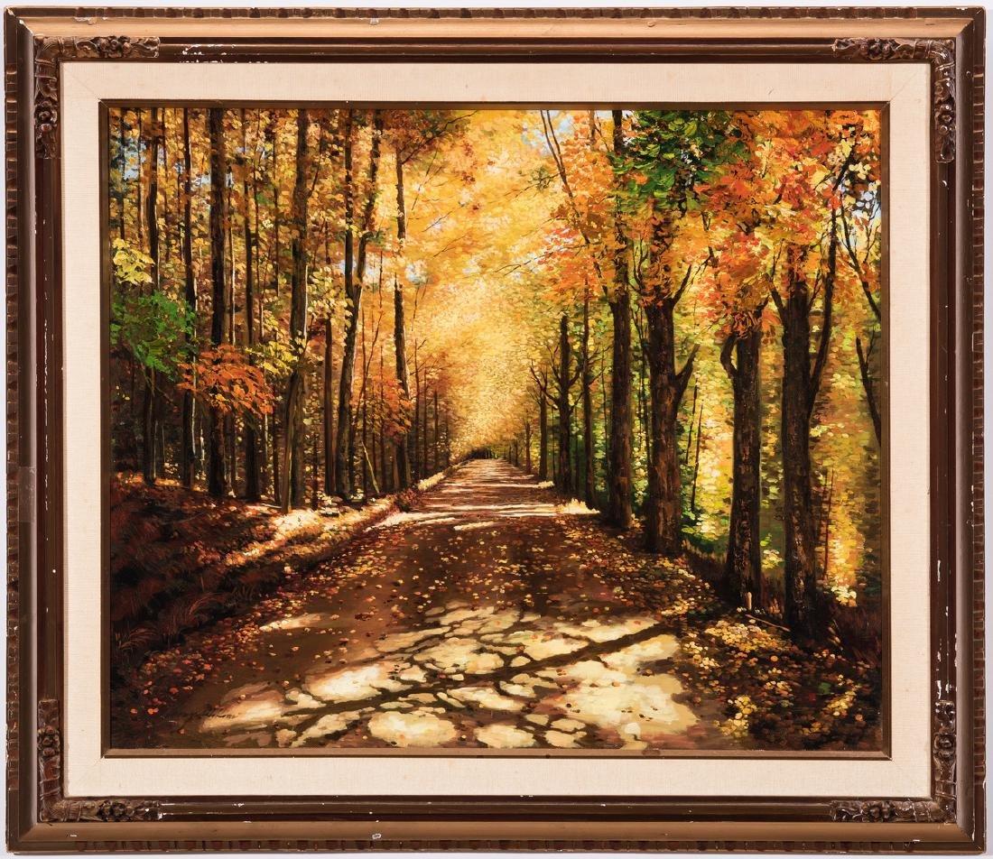 American School Fall Landscape, Signed - 2