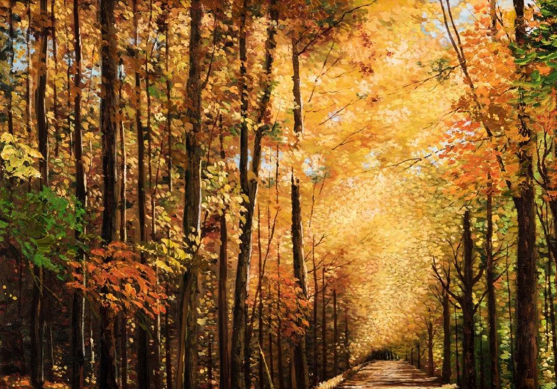 American School Fall Landscape, Signed - 3