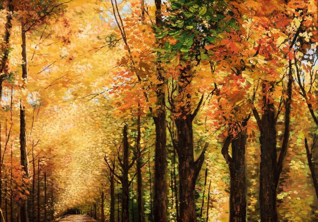 American School Fall Landscape, Signed - 4