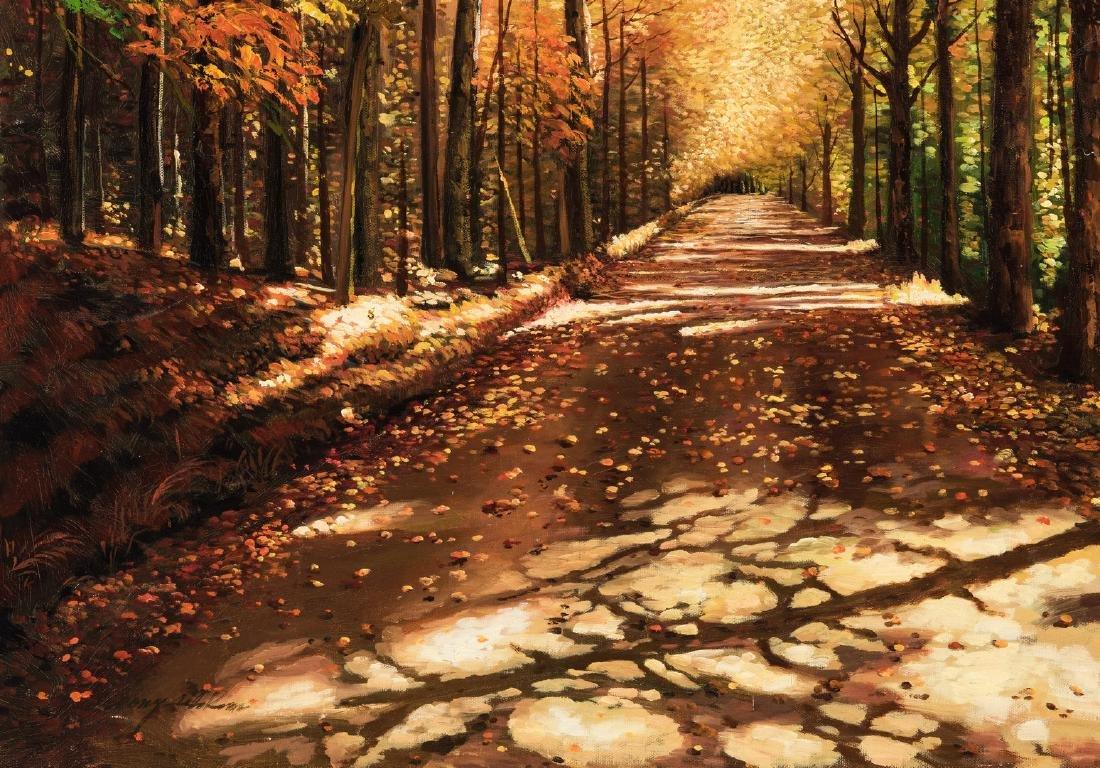 American School Fall Landscape, Signed - 5