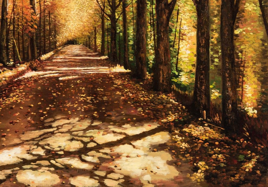 American School Fall Landscape, Signed - 6