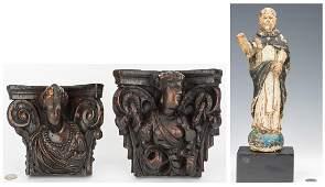 Pr. Baroque Figural Brackets & Santos, 3 items