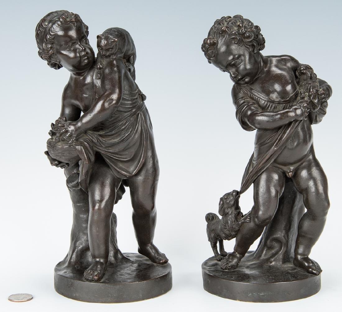 Pair French Bronze Putti Figurals