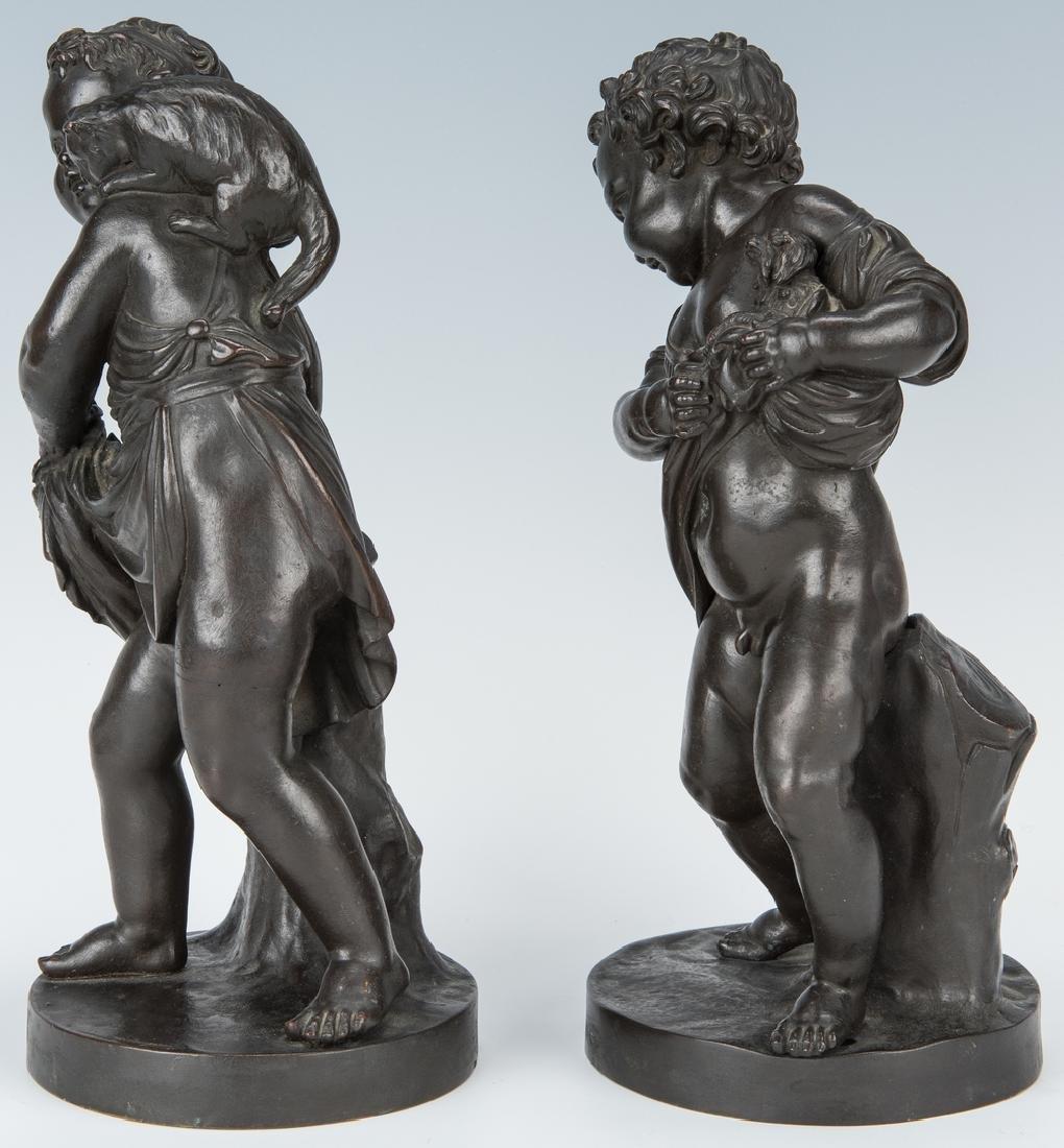 Pair French Bronze Putti Figurals - 4
