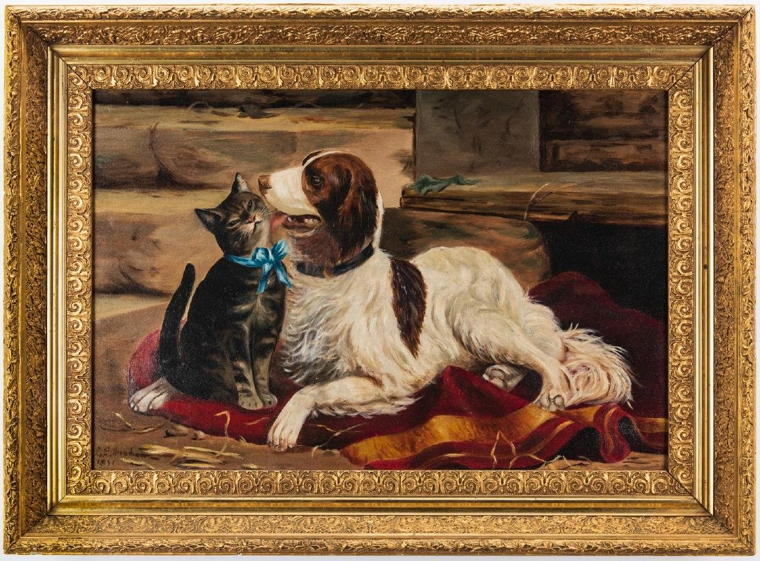 American School, O/C, Cat and Dog Painting