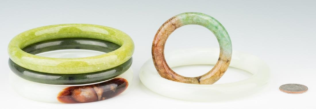 5 Chinese Carved Jade Bangles