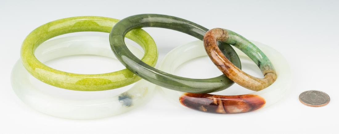 5 Chinese Carved Jade Bangles - 2