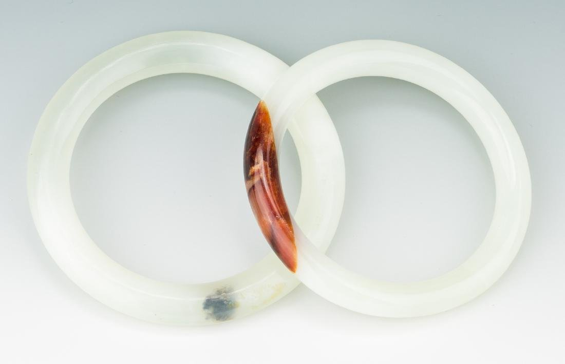 5 Chinese Carved Jade Bangles - 3