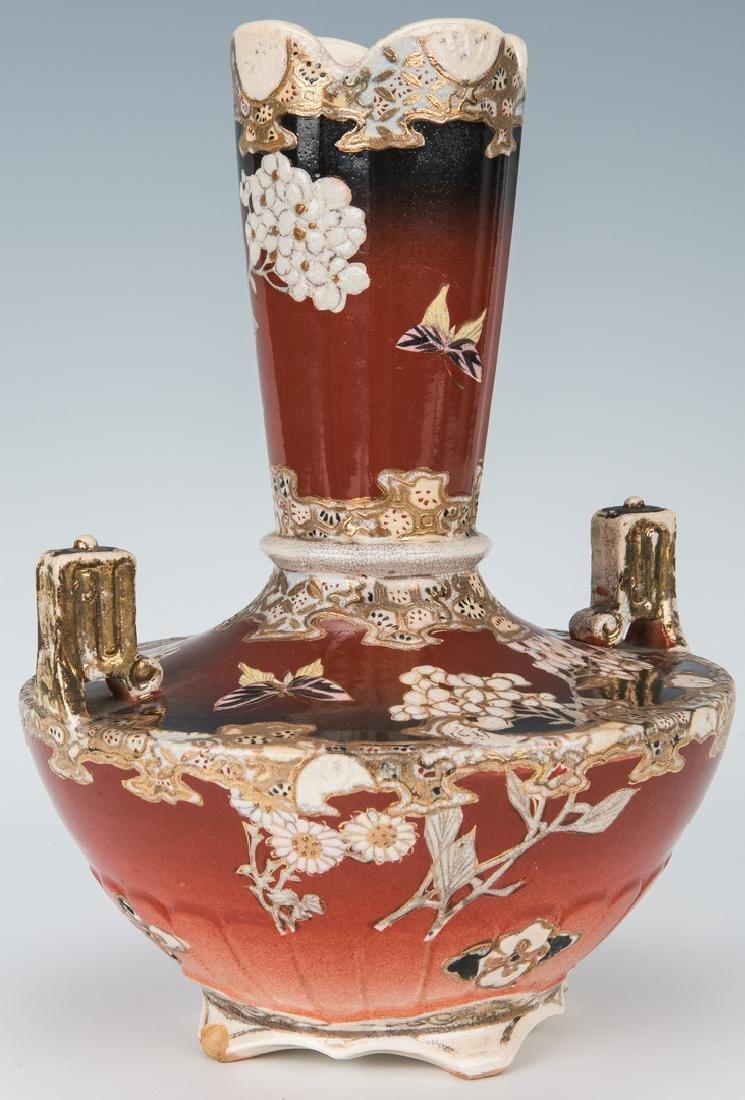 2 Japanese Satsuma Pottery Vases - 10
