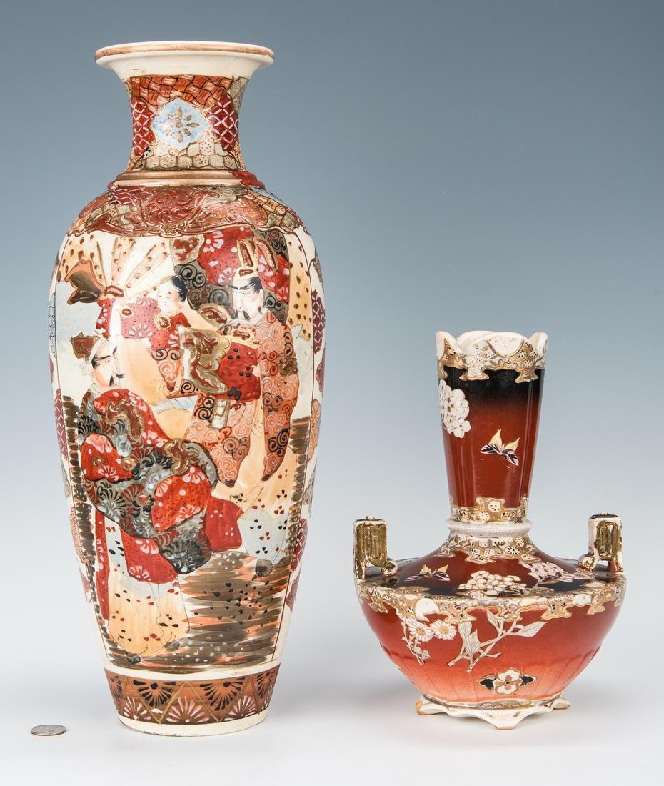 2 Japanese Satsuma Pottery Vases