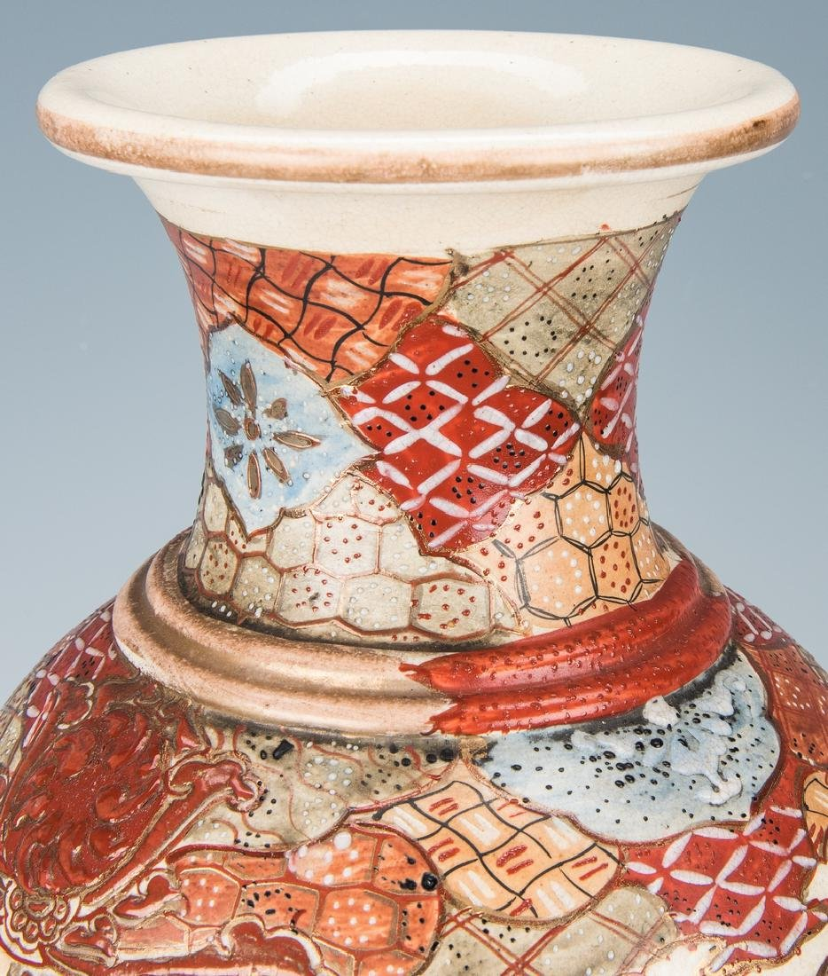 2 Japanese Satsuma Pottery Vases - 6