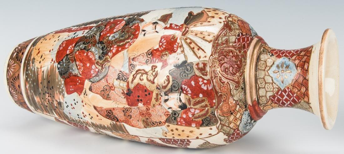 2 Japanese Satsuma Pottery Vases - 8