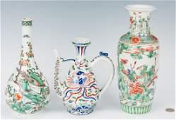 3 Pcs. Chinese Famille Verte Porcelain
