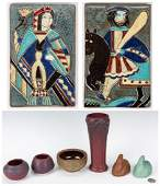 4 Pcs Van Briggle Art Pottery, 2 Ceramic Tiles & 2