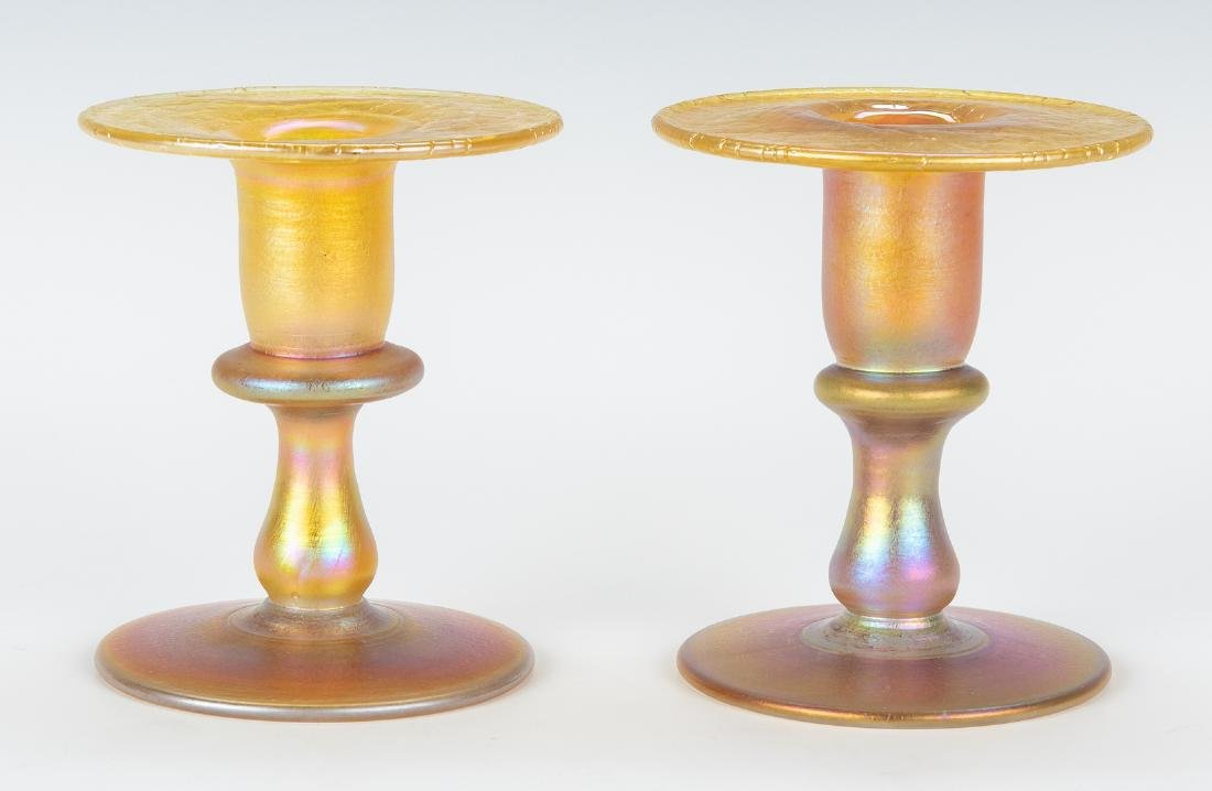 Pair Iridescent Gold Art Glass Candlesticks