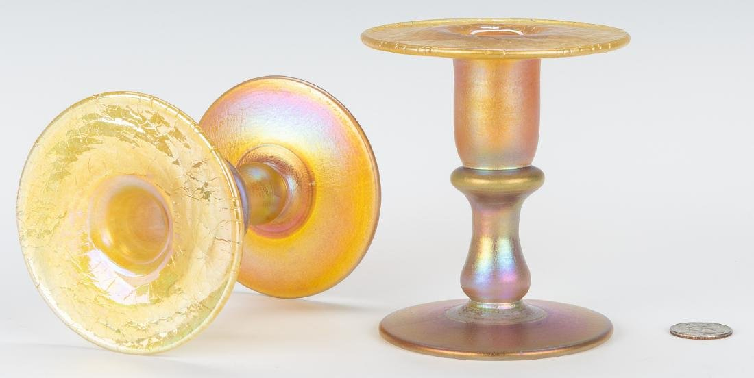 Pair Iridescent Gold Art Glass Candlesticks - 3
