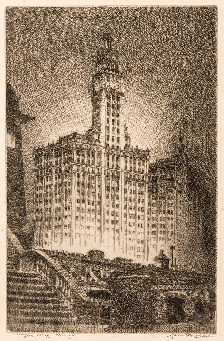 Leon Pescheret etching of Wrigley Building