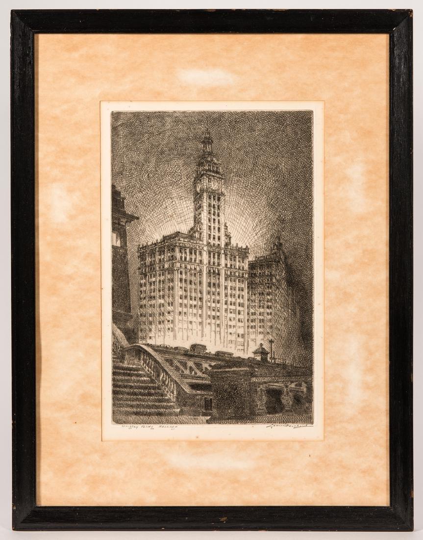 Leon Pescheret etching of Wrigley Building - 2