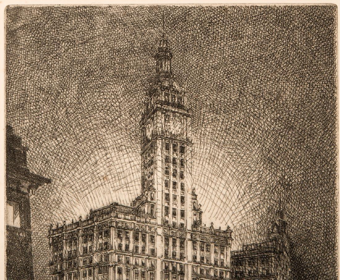 Leon Pescheret etching of Wrigley Building - 3