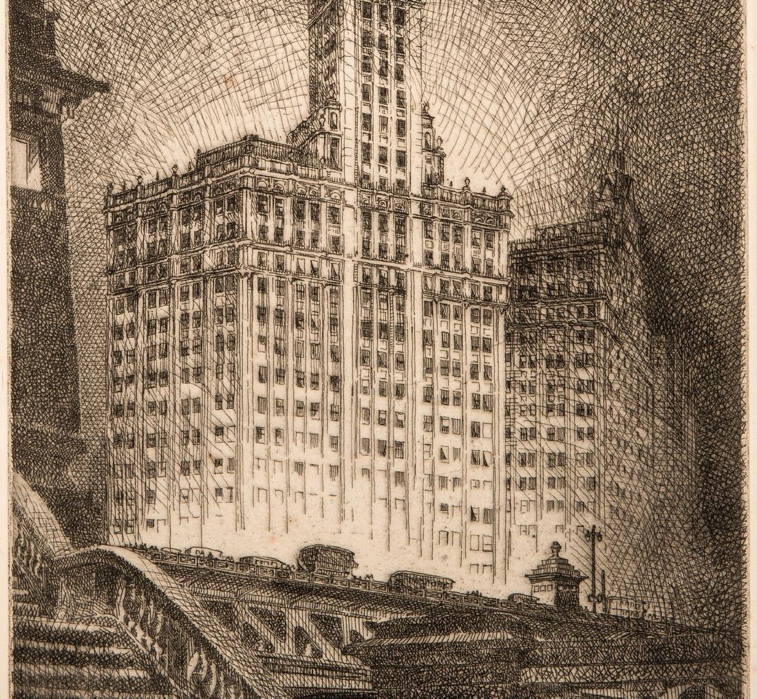 Leon Pescheret etching of Wrigley Building - 4
