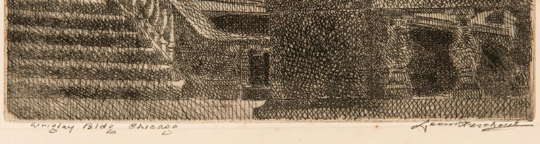 Leon Pescheret etching of Wrigley Building - 6