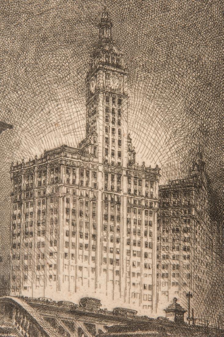 Leon Pescheret etching of Wrigley Building - 8