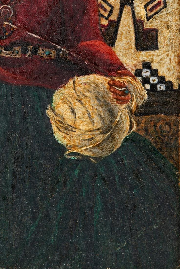 Native American Oil on Board Portrait - 10