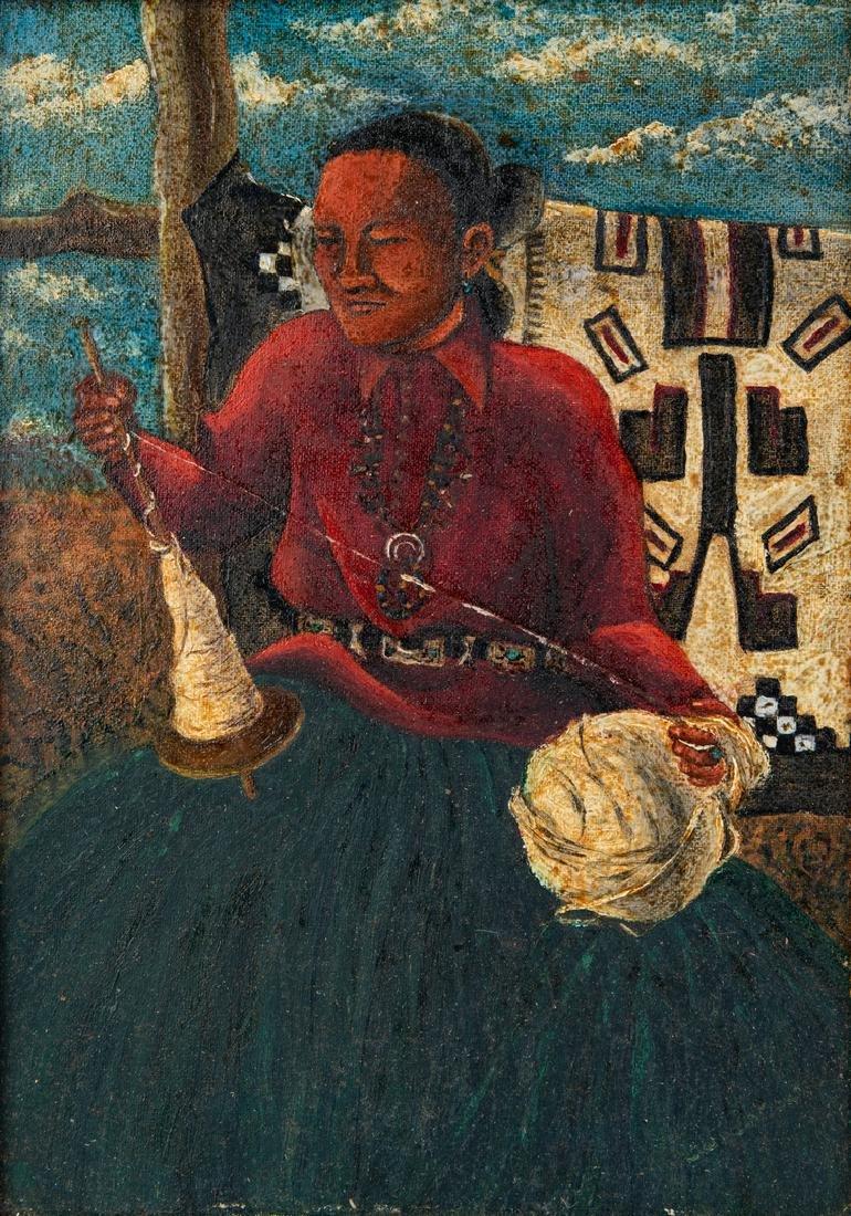 Native American Oil on Board Portrait