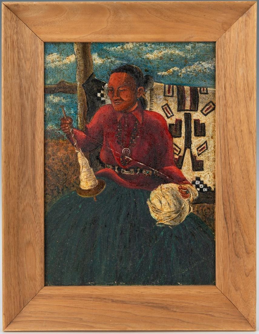 Native American Oil on Board Portrait - 2