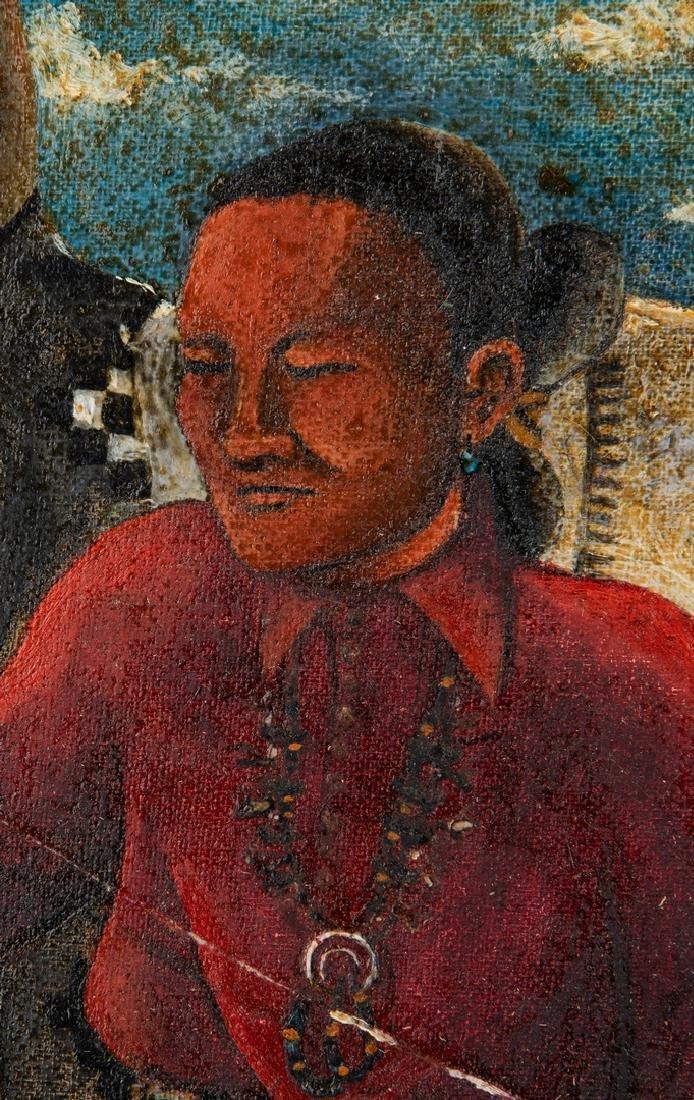 Native American Oil on Board Portrait - 3