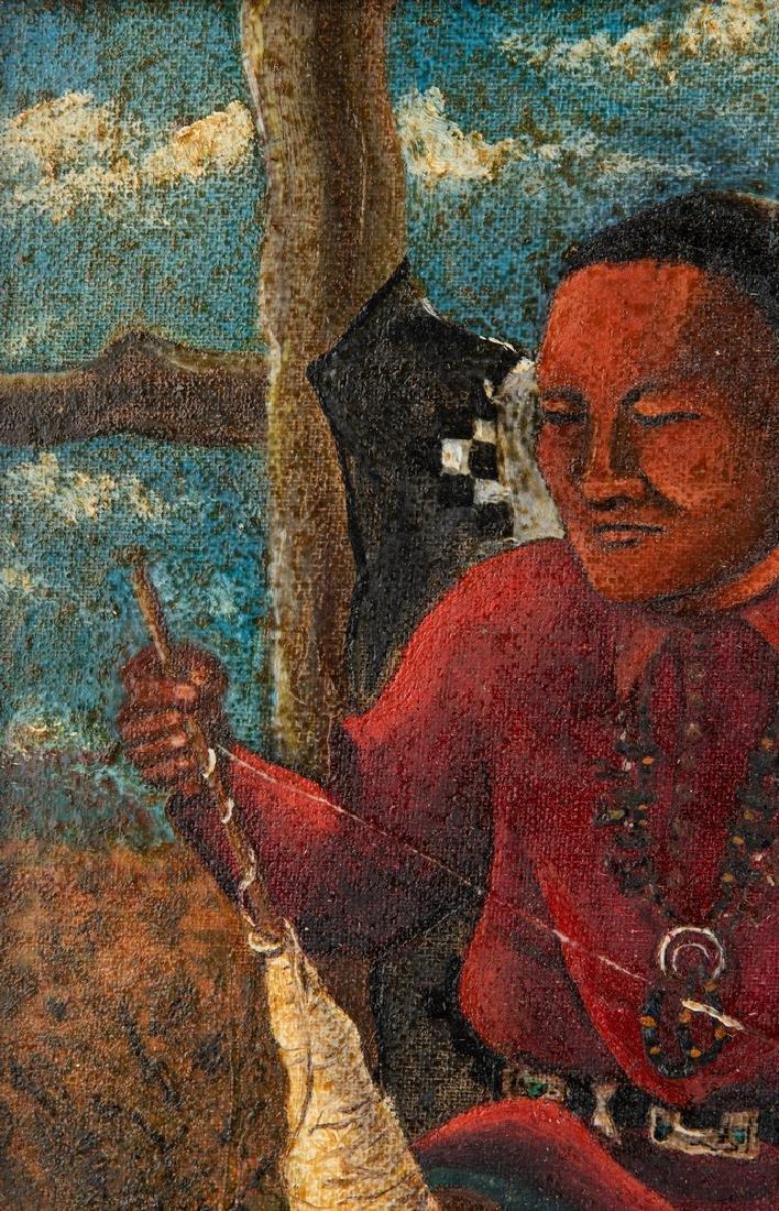 Native American Oil on Board Portrait - 7