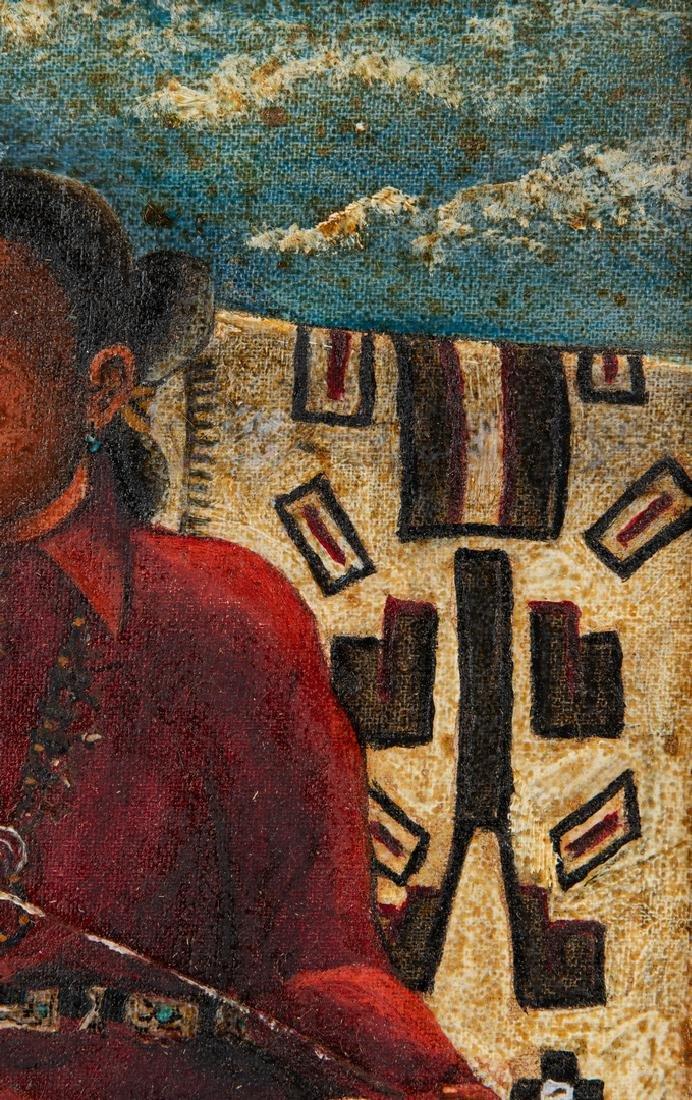 Native American Oil on Board Portrait - 8