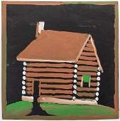 Jimmy Lee Sudduth Painting of a Log Cabin